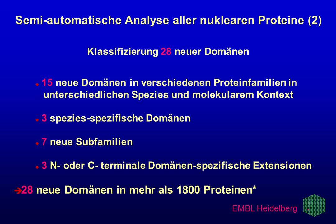 EMBL Heidelberg Semi-automatische Analyse aller nuklearen Proteine (2) Klassifizierung 28 neuer Domänen u u 15 neue Domänen in verschiedenen Proteinfa