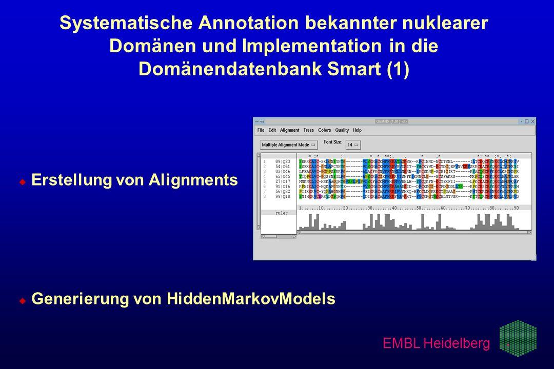 EMBL Heidelberg Systematische Annotation bekannter nuklearer Domänen und Implementation in die Domänendatenbank Smart (1) u u Erstellung von Alignment