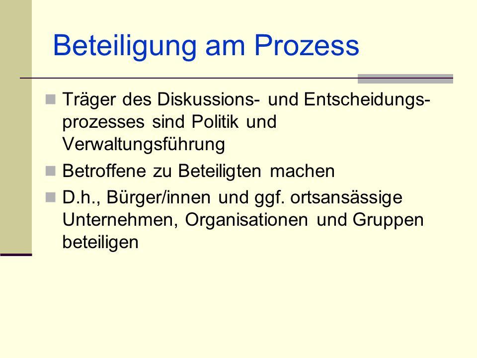 Beteiligung am Prozess Träger des Diskussions- und Entscheidungs- prozesses sind Politik und Verwaltungsführung Betroffene zu Beteiligten machen D.h.,