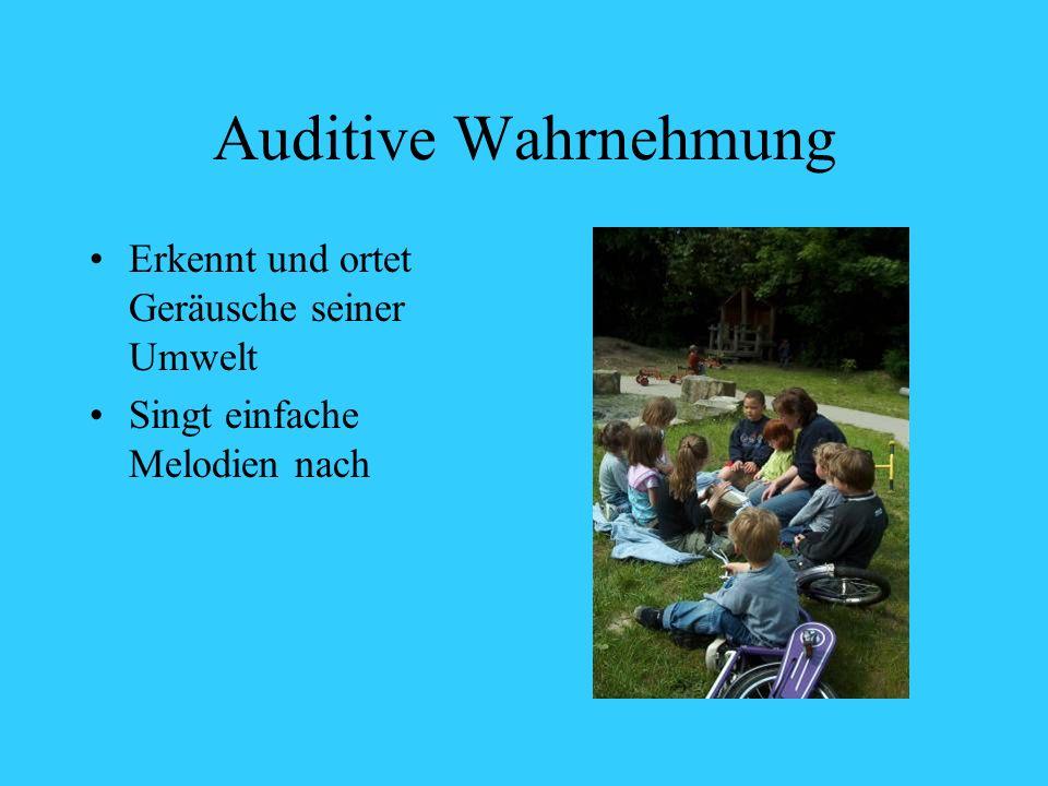 Auditive Wahrnehmung Erkennt und ortet Geräusche seiner Umwelt Singt einfache Melodien nach