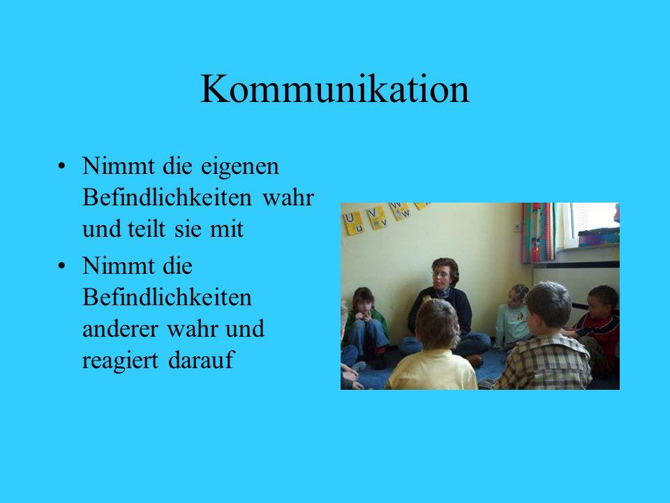 Kommunikation Nimmt die eigenen Befindlichkeiten wahr und teilt sie mit Nimmt die Befindlichkeiten anderer wahr und reagiert darauf