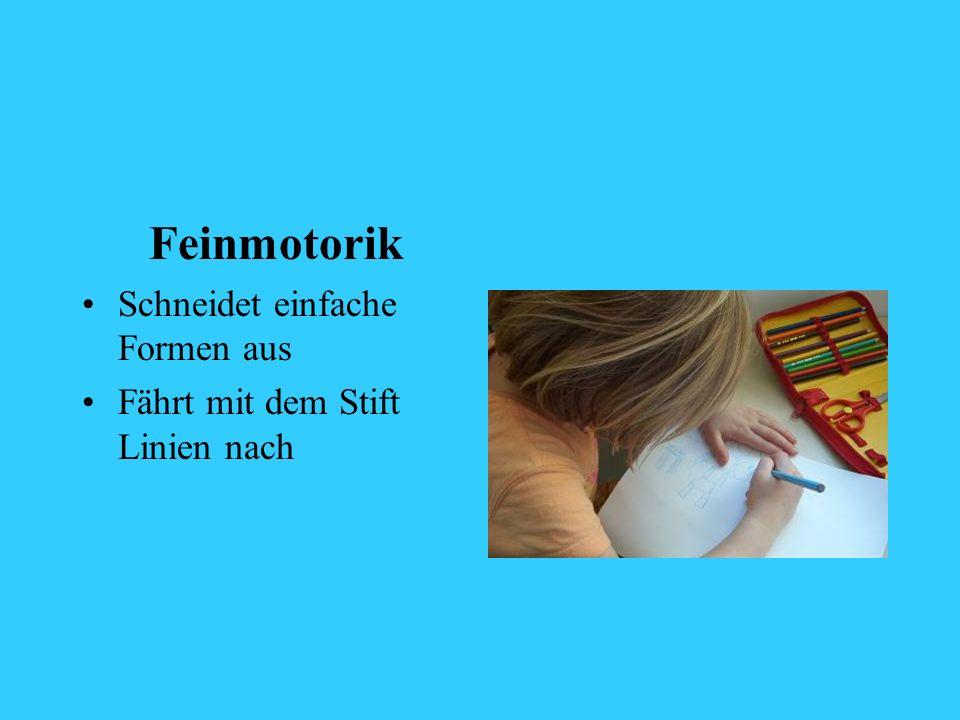Feinmotorik Schneidet einfache Formen aus Fährt mit dem Stift Linien nach