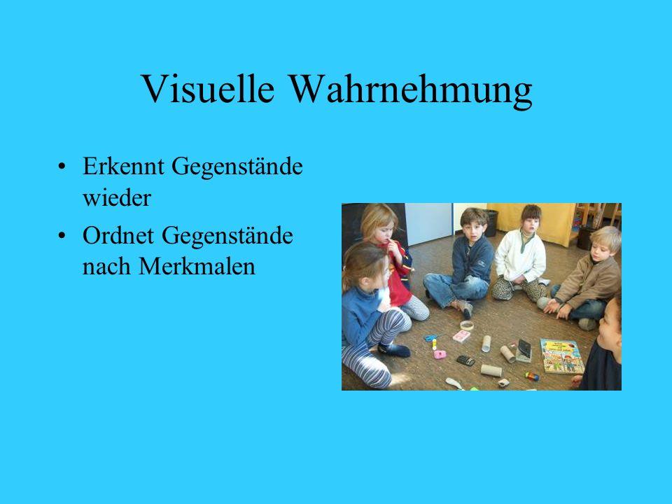 Visuelle Wahrnehmung Erkennt Gegenstände wieder Ordnet Gegenstände nach Merkmalen