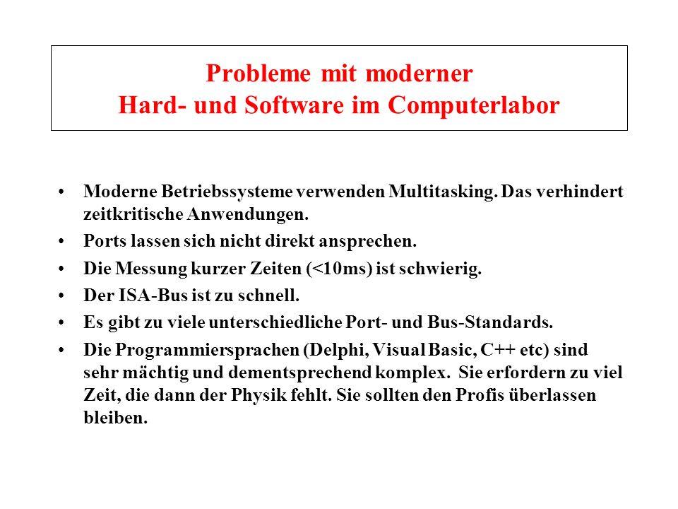 Probleme mit moderner Hard- und Software im Computerlabor Moderne Betriebssysteme verwenden Multitasking. Das verhindert zeitkritische Anwendungen. Po