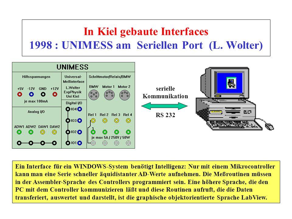 In Kiel gebaute Interfaces 1998 : UNIMESS am Seriellen Port (L. Wolter) serielle Kommunikation Ein Interface für ein WINDOWS-System benötigt Intellige