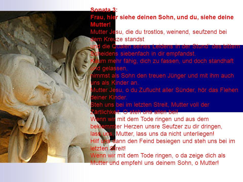 Sonata 3: Frau, hier siehe deinen Sohn, und du, siehe deine Mutter! Mutter Jesu, die du trostlos, weinend, seufzend bei dem Kreuze standst und die Qua