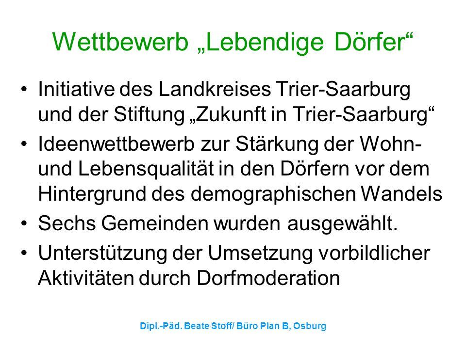 Dipl.-Päd. Beate Stoff/ Büro Plan B, Osburg Wettbewerb Lebendige Dörfer Initiative des Landkreises Trier-Saarburg und der Stiftung Zukunft in Trier-Sa