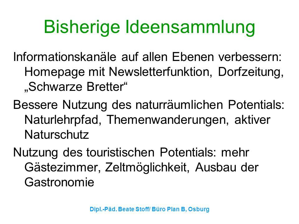 Dipl.-Päd. Beate Stoff/ Büro Plan B, Osburg Bisherige Ideensammlung Informationskanäle auf allen Ebenen verbessern: Homepage mit Newsletterfunktion, D