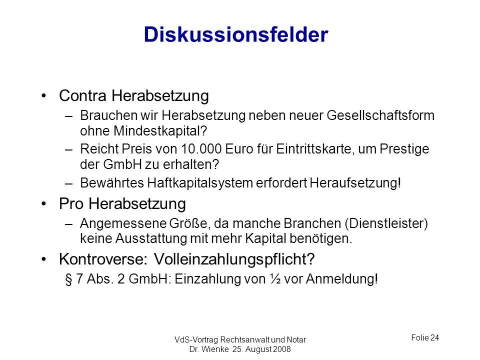 VdS-Vortrag Rechtsanwalt und Notar Dr. Wienke 25. August 2008 Folie 24 Diskussionsfelder Contra Herabsetzung –Brauchen wir Herabsetzung neben neuer Ge