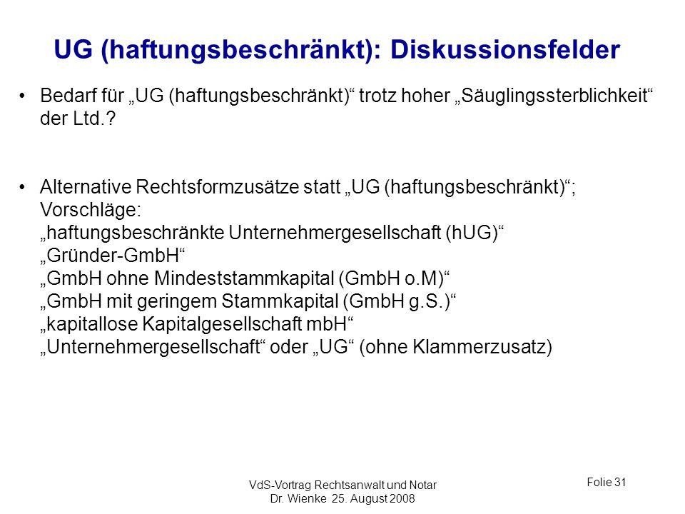 VdS-Vortrag Rechtsanwalt und Notar Dr. Wienke 25. August 2008 Folie 31 UG (haftungsbeschränkt): Diskussionsfelder Bedarf für UG (haftungsbeschränkt) t