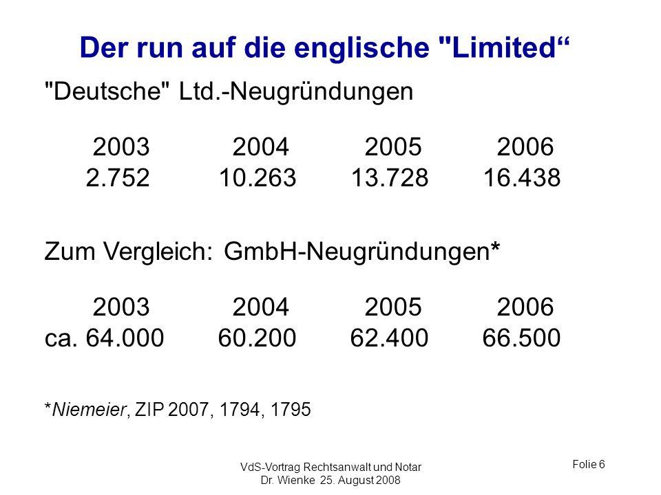 VdS-Vortrag Rechtsanwalt und Notar Dr. Wienke 25. August 2008 Folie 6 Der run auf die englische