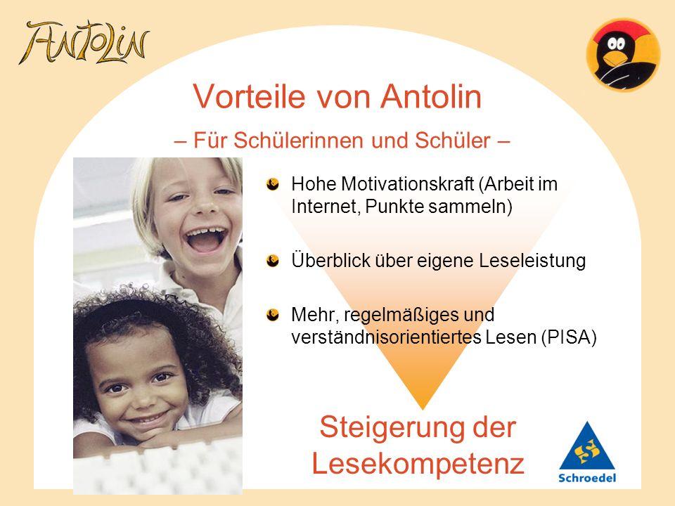 Vorteile von Antolin – Für Schülerinnen und Schüler – Steigerung der Lesekompetenz Hohe Motivationskraft (Arbeit im Internet, Punkte sammeln) Überblic
