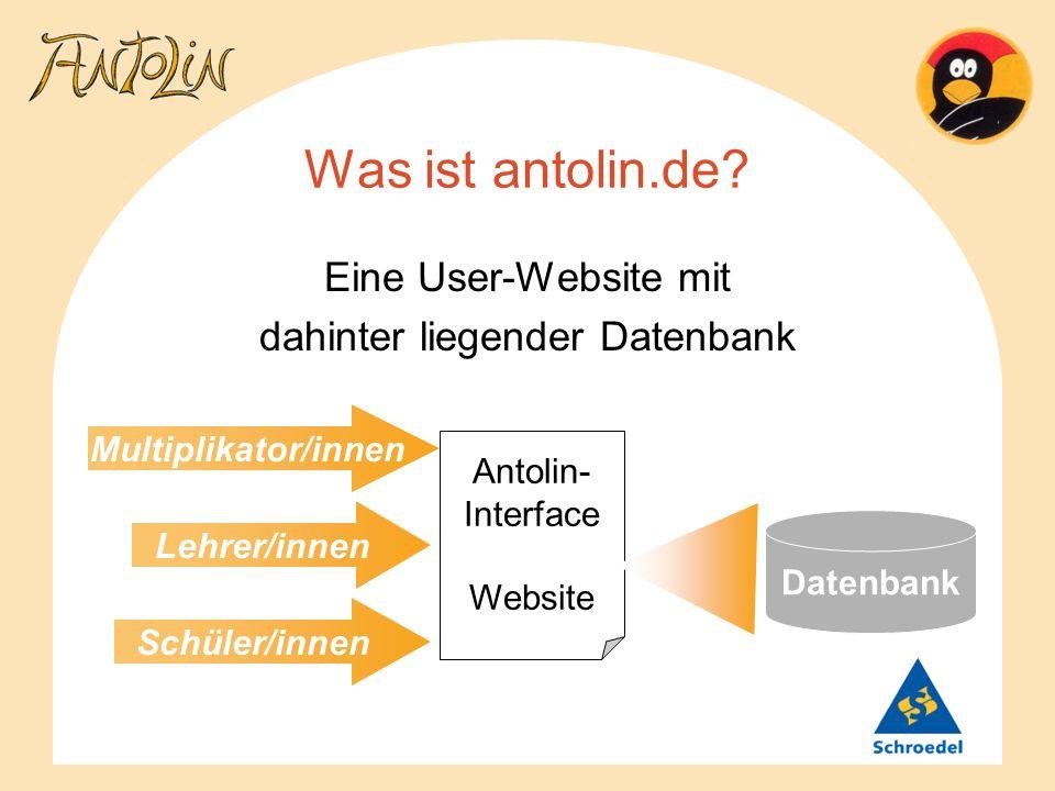 Was ist antolin.de? Eine User-Website mit dahinter liegender Datenbank Antolin- Interface Website Datenbank Schüler/innen Lehrer/innen Multiplikator/i