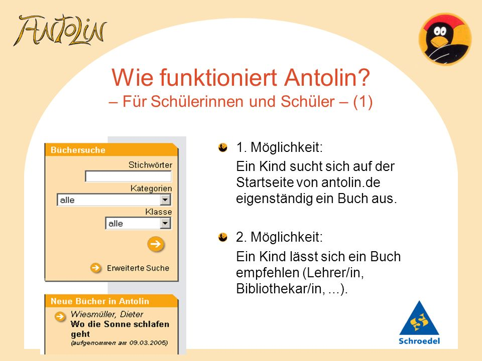 Wie funktioniert Antolin? – Für Schülerinnen und Schüler – (1) 1. Möglichkeit: Ein Kind sucht sich auf der Startseite von antolin.de eigenständig ein