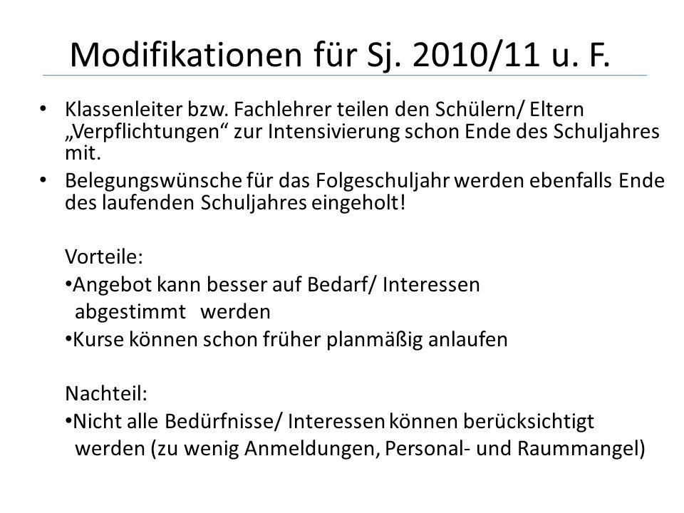 Modifikationen für Sj. 2010/11 u. F. Klassenleiter bzw.