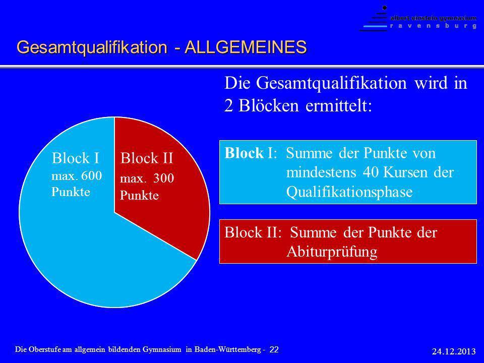 Gesamtqualifikation max. 900 Punkte Block I max. 600 Punkte Block II max. 300 Punkte Die Gesamtqualifikation wird in 2 Blöcken ermittelt: Block I: Sum
