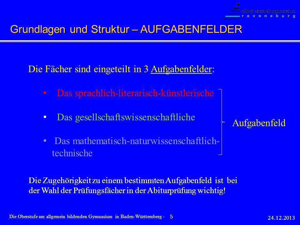 Die Fächer sind eingeteilt in 3 Aufgabenfelder: Das sprachlich-literarisch-künstlerische Das gesellschaftswissenschaftliche Das mathematisch-naturwiss