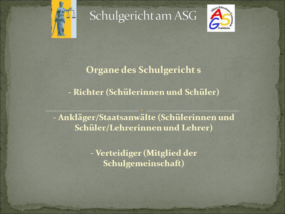 Organe des Schulgericht s - Richter (Schülerinnen und Schüler) - Ankläger/Staatsanwälte (Schülerinnen und Schüler/Lehrerinnen und Lehrer) - Verteidige