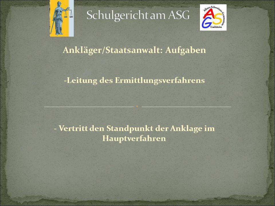 Ankläger/Staatsanwalt: Aufgaben -Leitung des Ermittlungsverfahrens - Vertritt den Standpunkt der Anklage im Hauptverfahren