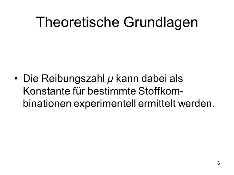 6 Die Reibungszahl µ kann dabei als Konstante für bestimmte Stoffkom- binationen experimentell ermittelt werden. Theoretische Grundlagen