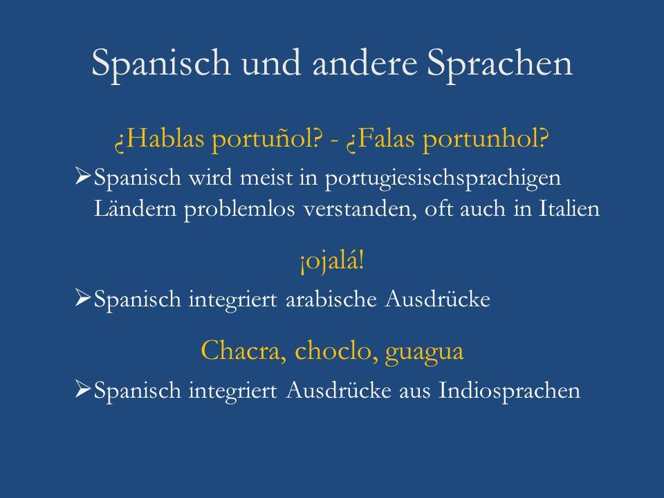 Spanisch und andere Sprachen ¿Hablas portuñol? - ¿Falas portunhol? Spanisch wird meist in portugiesischsprachigen Ländern problemlos verstanden, oft a