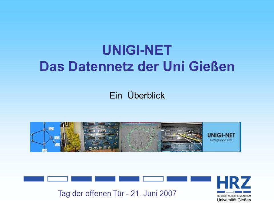 Tag der offenen Tür - 21. Juni 2007 UNIGI-NET Das Datennetz der Uni Gießen Ein Überblick
