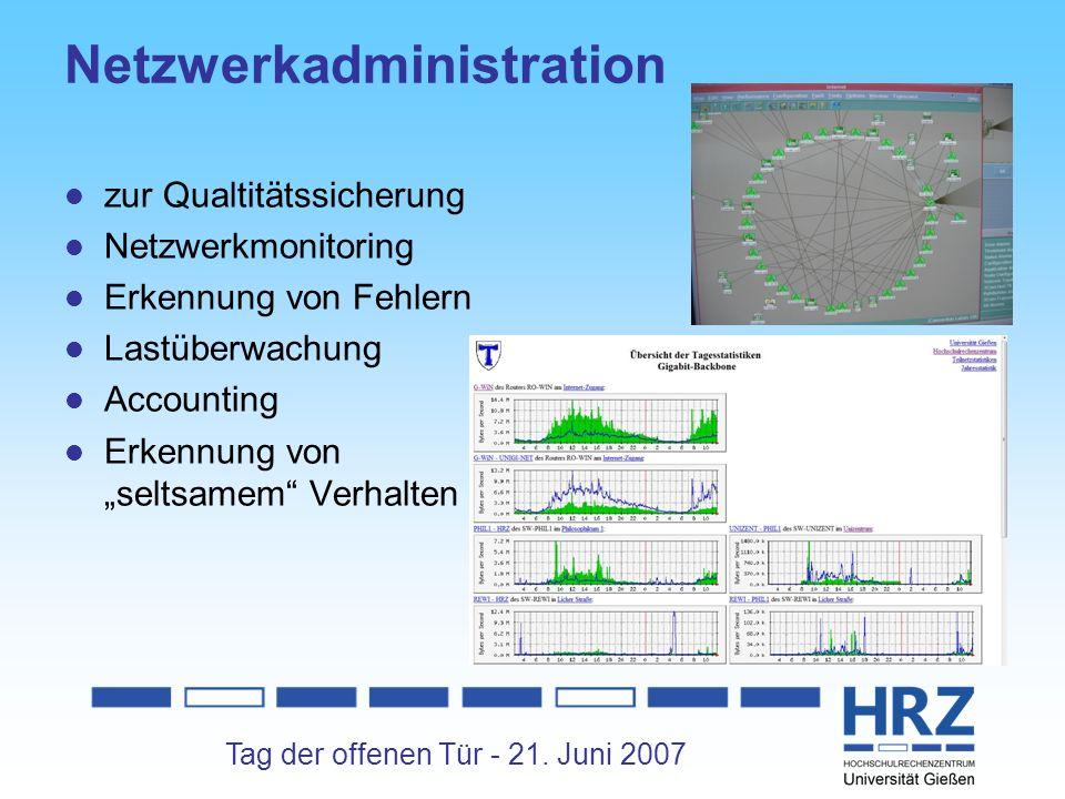 Tag der offenen Tür - 21. Juni 2007 Netzwerkadministration zur Qualtitätssicherung Netzwerkmonitoring Erkennung von Fehlern Lastüberwachung Accounting