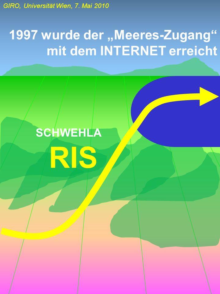 GIRO, Universität Wien, 7. Mai 2010 1997 wurde der Meeres-Zugang mit dem INTERNET erreicht RIS SCHWEHLA