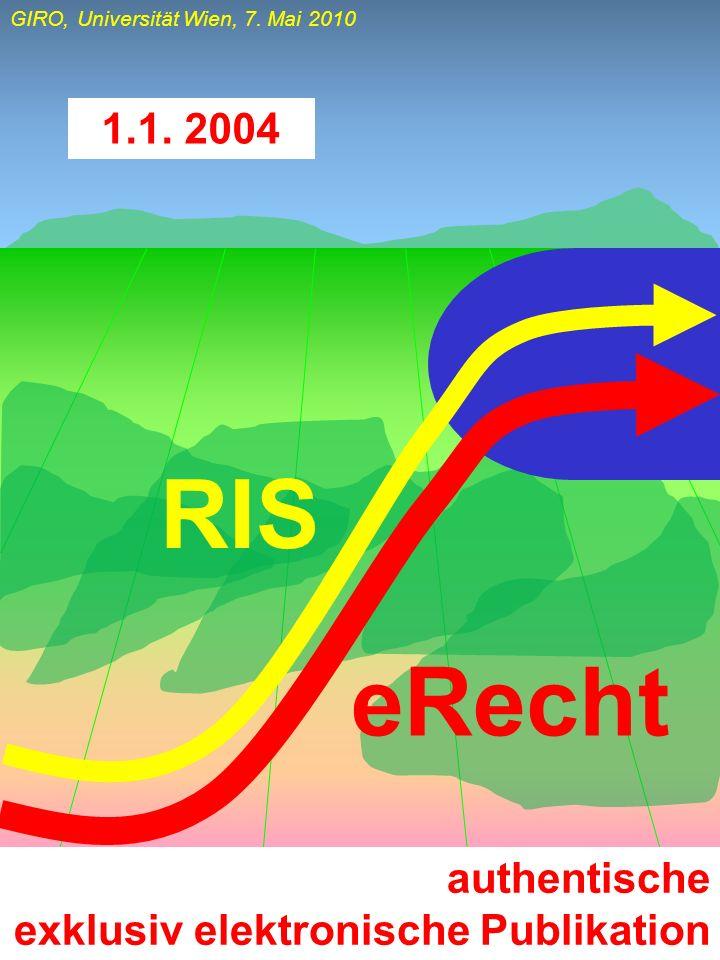 GIRO, Universität Wien, 7. Mai 2010 authentische exklusiv elektronische Publikation 1.1. 2004 RIS eRecht
