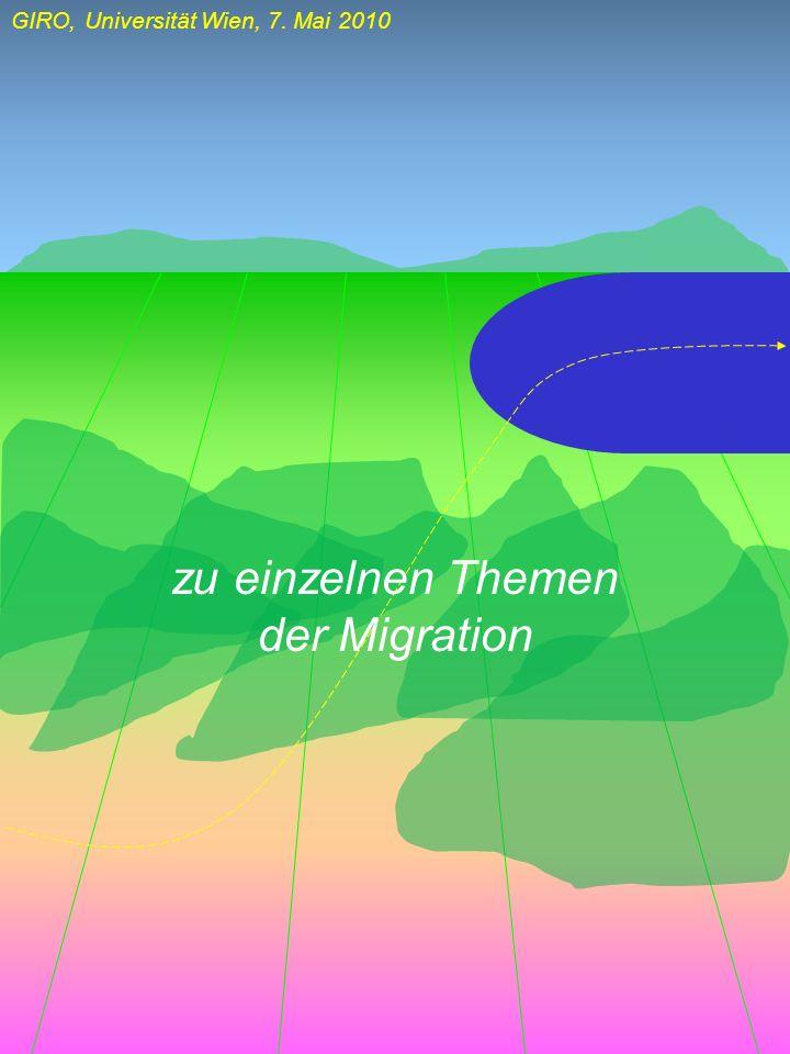 GIRO, Universität Wien, 7. Mai 2010 zu einzelnen Themen der Migration