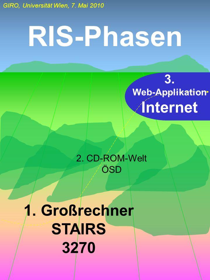 GIRO, Universität Wien, 7. Mai 2010 RIS-Phasen 1. Großrechner STAIRS 3270 3. Web-Applikation Internet 2. CD-ROM-Welt ÖSD
