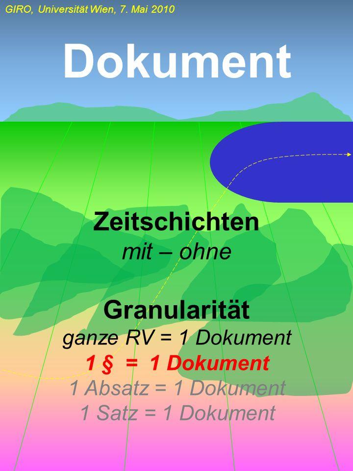 GIRO, Universität Wien, 7. Mai 2010 Dokument Zeitschichten mit – ohne Granularität ganze RV = 1 Dokument 1 § = 1 Dokument 1 Absatz = 1 Dokument 1 Satz