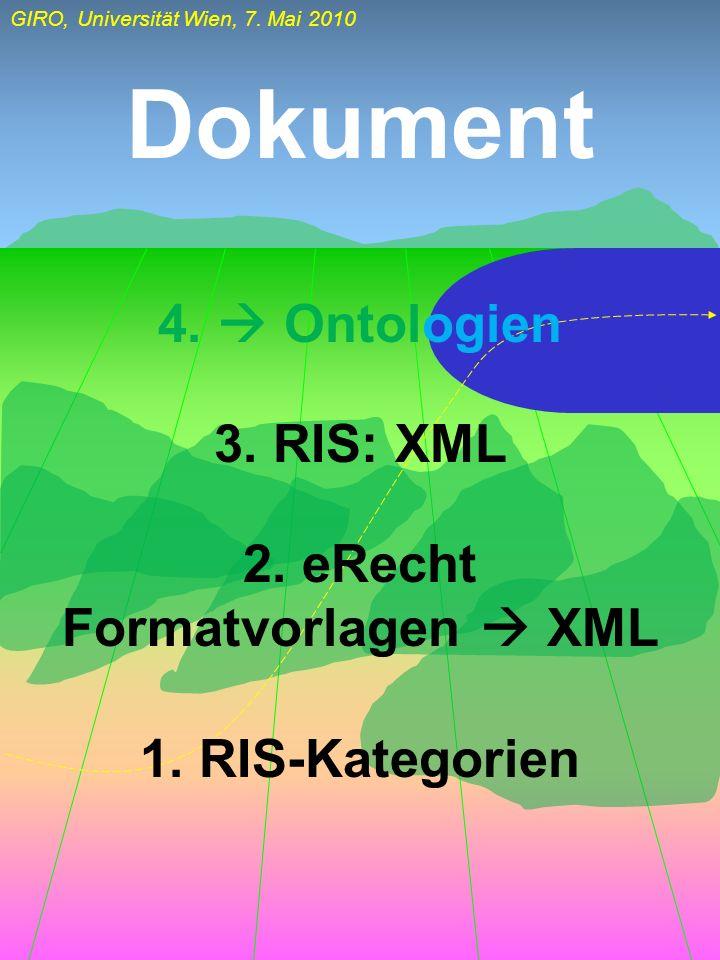 GIRO, Universität Wien, 7. Mai 2010 Dokument 1. RIS-Kategorien 2. eRecht Formatvorlagen XML 3. RIS: XML 4. Ontologien