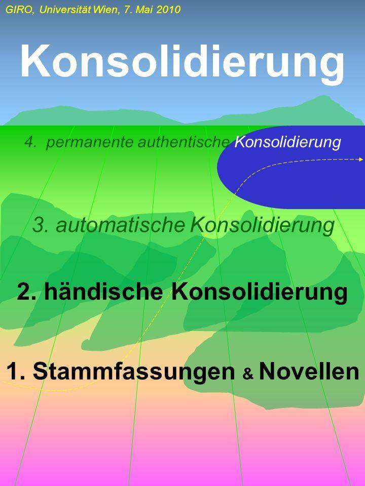 GIRO, Universität Wien, 7. Mai 2010 Konsolidierung 1. Stammfassungen & Novellen 2. händische Konsolidierung 3. automatische Konsolidierung 4. permanen