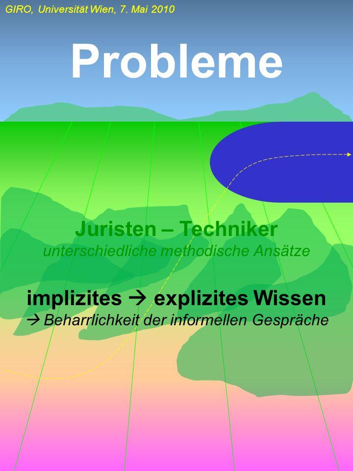 GIRO, Universität Wien, 7. Mai 2010 Probleme Juristen – Techniker unterschiedliche methodische Ansätze implizites explizites Wissen Beharrlichkeit der
