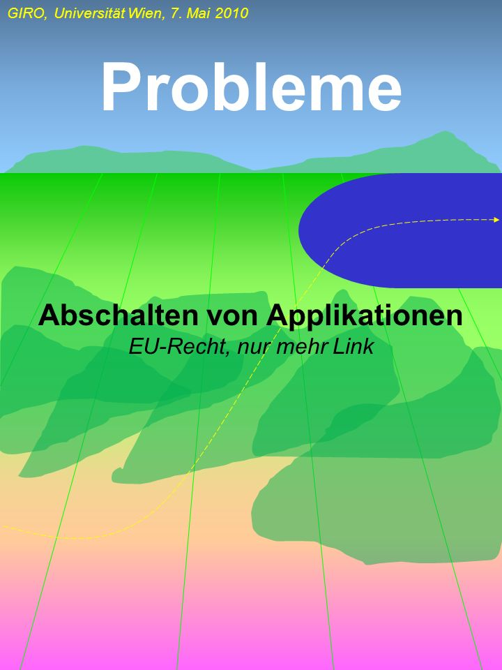 GIRO, Universität Wien, 7. Mai 2010 Probleme Abschalten von Applikationen EU-Recht, nur mehr Link