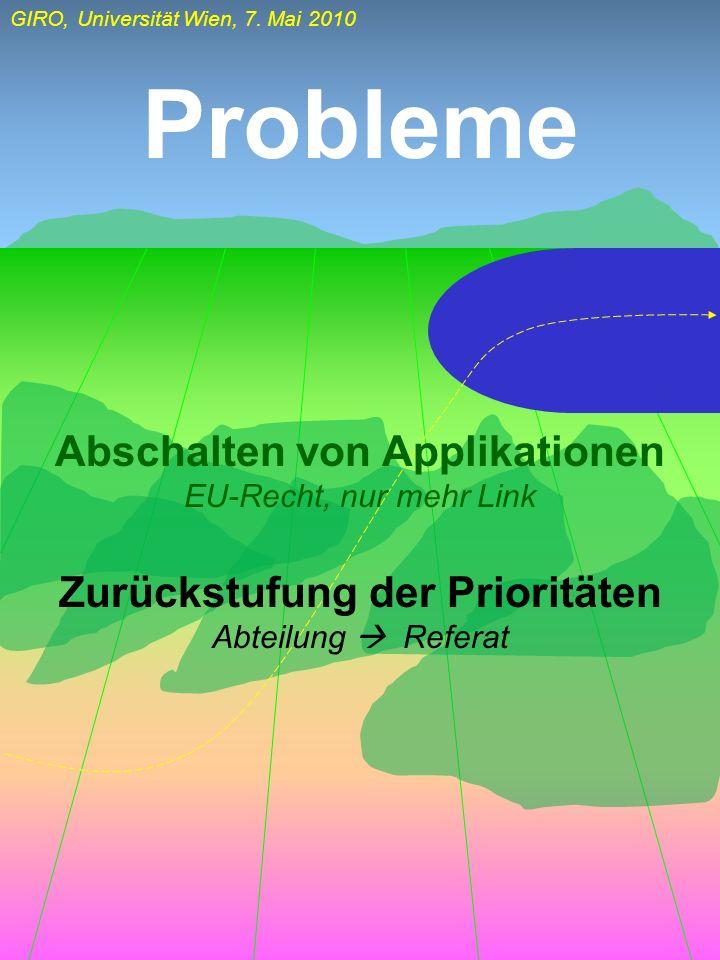 GIRO, Universität Wien, 7. Mai 2010 Probleme Abschalten von Applikationen EU-Recht, nur mehr Link Zurückstufung der Prioritäten Abteilung Referat