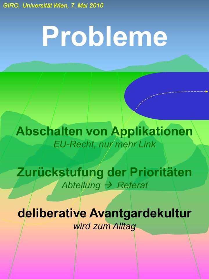 GIRO, Universität Wien, 7. Mai 2010 Probleme Abschalten von Applikationen EU-Recht, nur mehr Link Zurückstufung der Prioritäten Abteilung Referat deli
