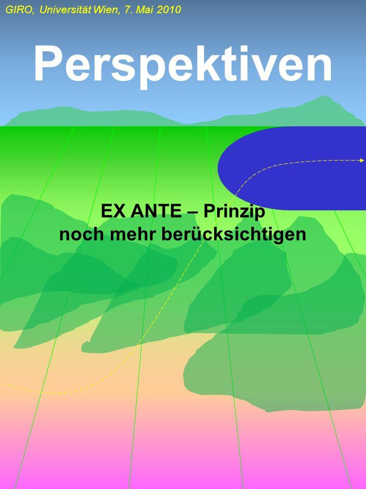 GIRO, Universität Wien, 7. Mai 2010 Perspektiven EX ANTE – Prinzip noch mehr berücksichtigen