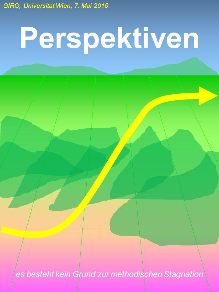 GIRO, Universität Wien, 7. Mai 2010 Perspektiven es besteht kein Grund zur methodischen Stagnation