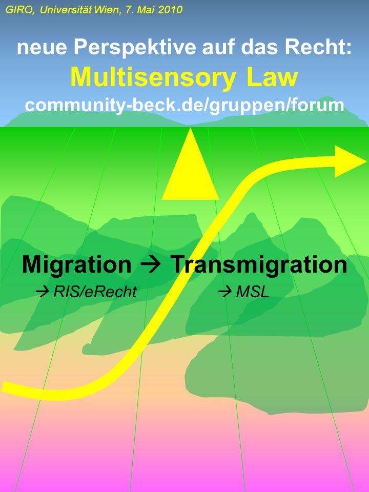 GIRO, Universität Wien, 7. Mai 2010 Migration Transmigration neue Perspektive auf das Recht: Multisensory Law community-beck.de/gruppen/forum RIS/eRec