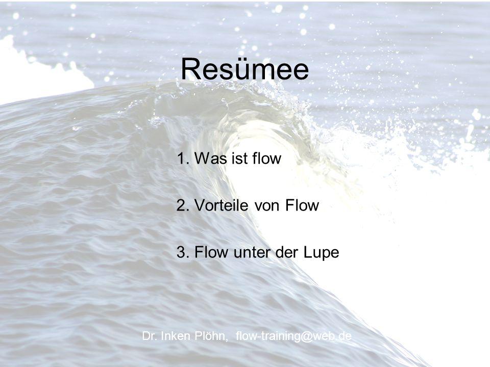 Resümee 1. Was ist flow 2. Vorteile von Flow 3. Flow unter der Lupe Dr. Inken Plöhn, flow-training@web.de