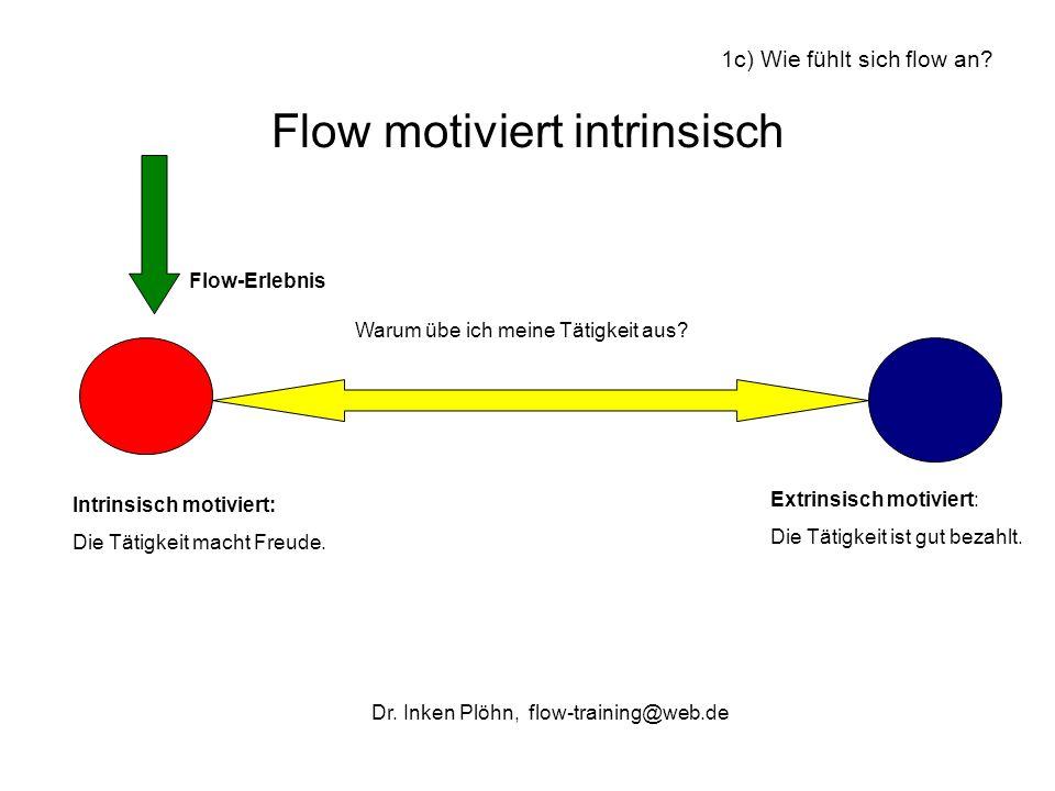 Flow motiviert intrinsisch Intrinsisch motiviert: Die Tätigkeit macht Freude. Extrinsisch motiviert: Die Tätigkeit ist gut bezahlt. Flow-Erlebnis Waru