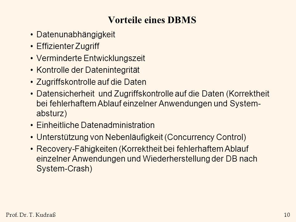 Prof. Dr. T. Kudraß10 Vorteile eines DBMS Datenunabhängigkeit Effizienter Zugriff Verminderte Entwicklungszeit Kontrolle der Datenintegrität Zugriffsk
