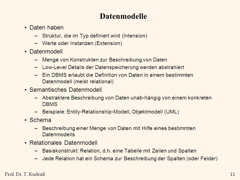 Prof. Dr. T. Kudraß11 Datenmodelle Daten haben –Struktur, die im Typ definiert wird (Intension) –Werte oder Instanzen (Extension) Datenmodell –Menge v