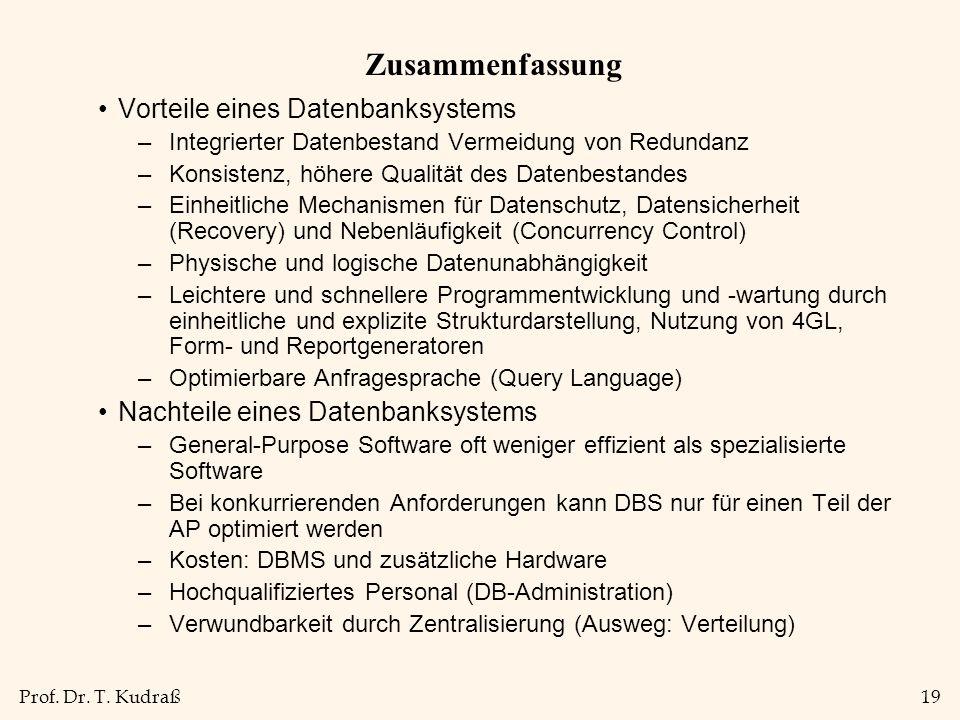 Prof. Dr. T. Kudraß19 Zusammenfassung Vorteile eines Datenbanksystems –Integrierter Datenbestand Vermeidung von Redundanz –Konsistenz, höhere Qualität