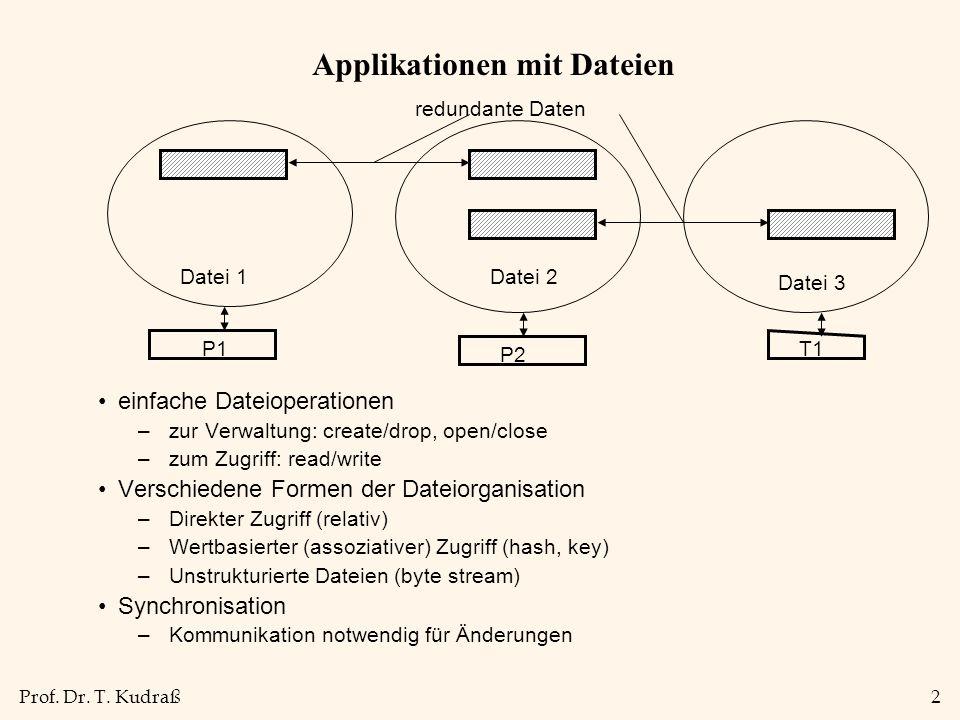 Prof. Dr. T. Kudraß2 Applikationen mit Dateien einfache Dateioperationen –zur Verwaltung: create/drop, open/close –zum Zugriff: read/write Verschieden