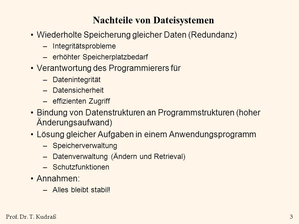 Prof. Dr. T. Kudraß3 Nachteile von Dateisystemen Wiederholte Speicherung gleicher Daten (Redundanz) –Integritätsprobleme –erhöhter Speicherplatzbedarf
