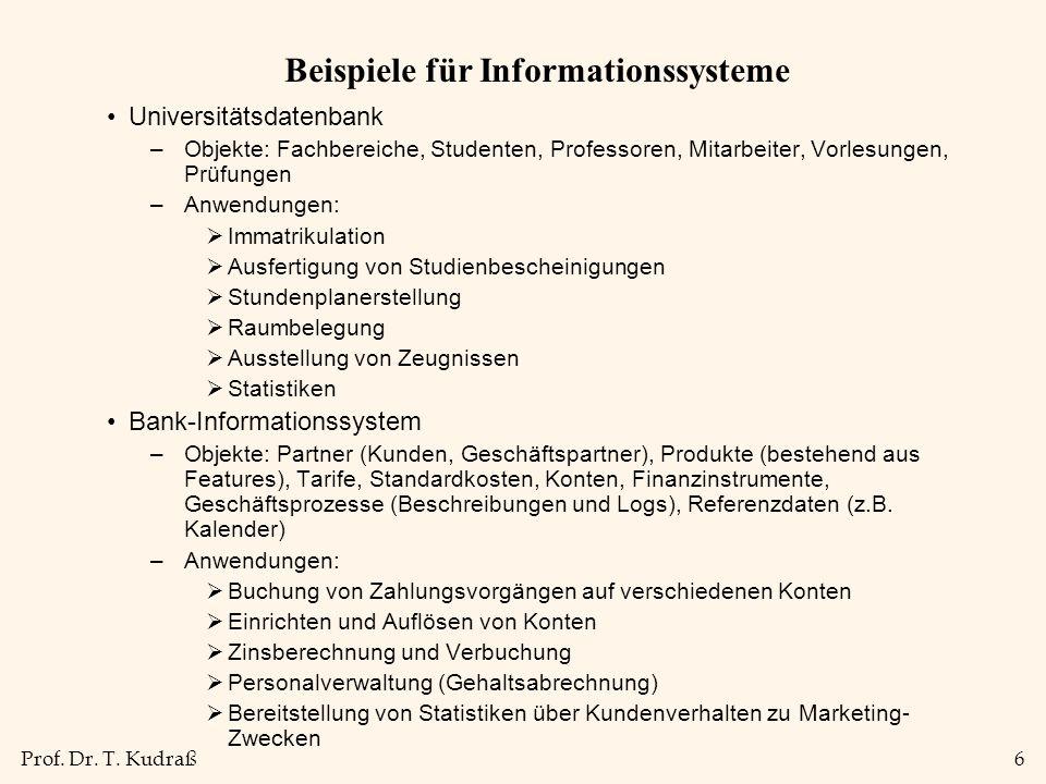 Prof. Dr. T. Kudraß6 Beispiele für Informationssysteme Universitätsdatenbank –Objekte: Fachbereiche, Studenten, Professoren, Mitarbeiter, Vorlesungen,