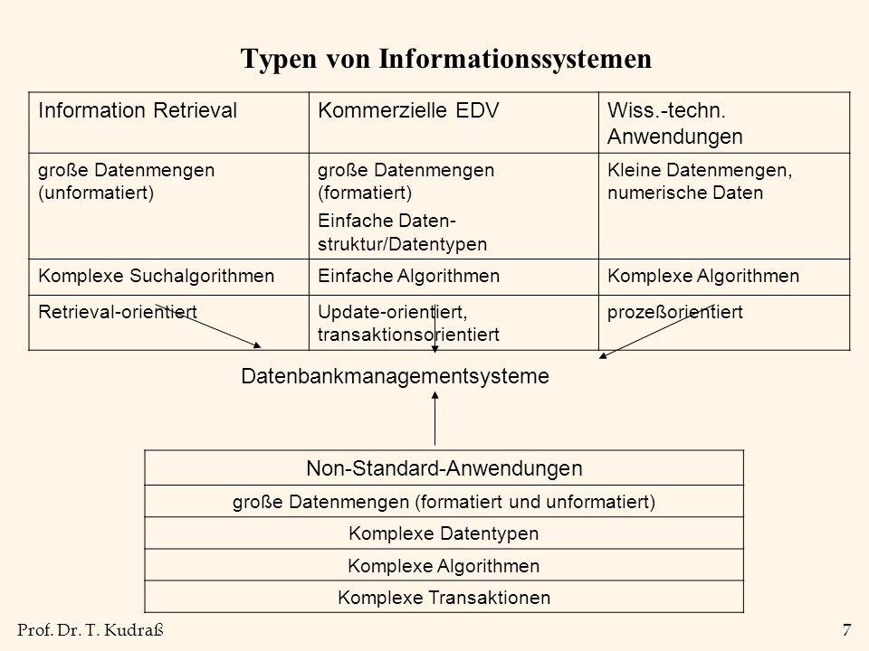 Prof. Dr. T. Kudraß7 Typen von Informationssystemen Information RetrievalKommerzielle EDVWiss.-techn. Anwendungen große Datenmengen (unformatiert) gro